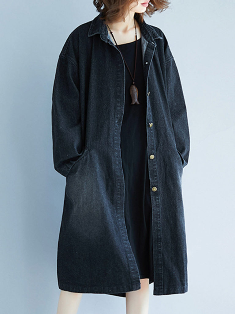 Fold Over Collar Slit Pocket Light Wash Trench Coat