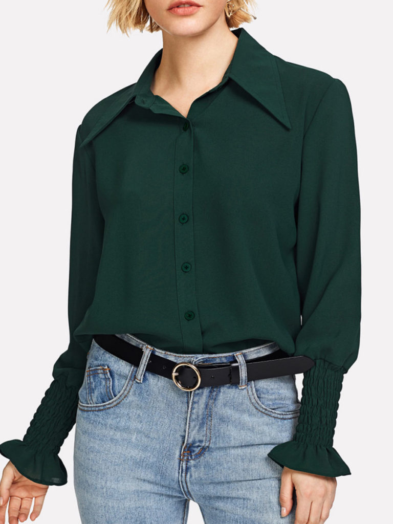 Turn Down Collar Loose Fitting Plain Blouses 1d83bcca1