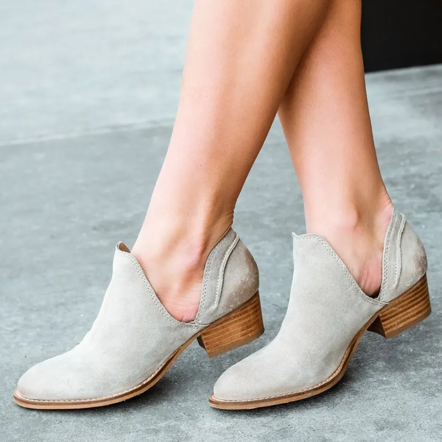 Plain Low Heeled Velvet Round Toe Casual Outdoor Ankle Ankle Boots