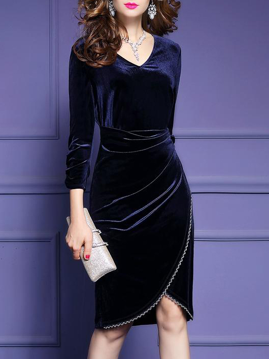 V-Neck Frayed Trim Plain Bodycon Dress