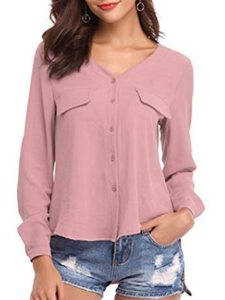 Autumn Spring Cotton Women V-Neck Plain Long Sleeve Blouses f183b8cb6