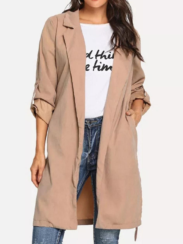 Fold Over Collar Belt Plain Cuffed Sleeve Trench Coat