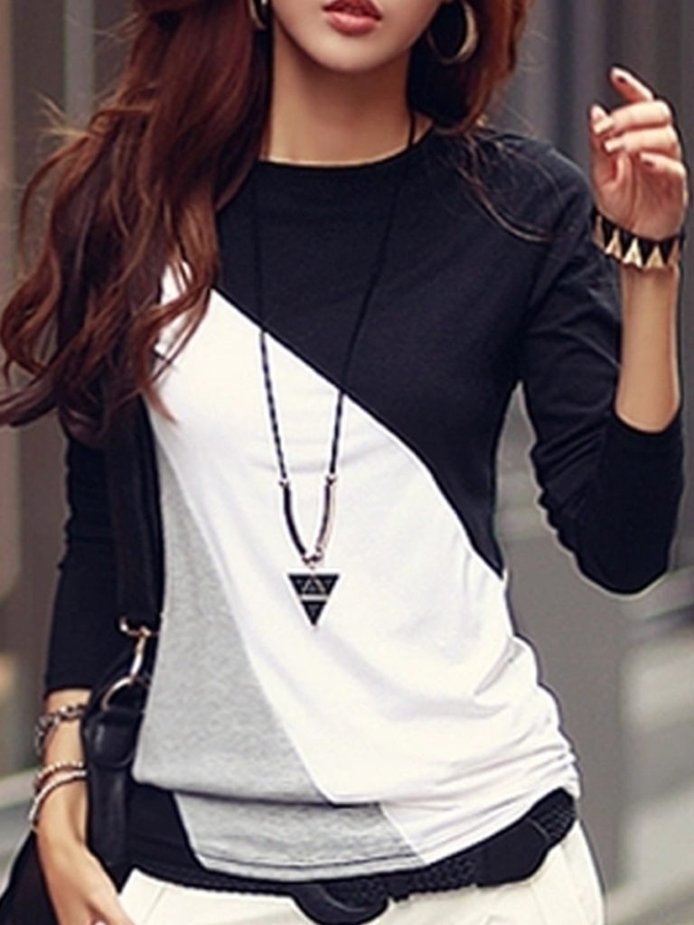 Autumn Spring Cotton Blend Women Round Neck Color Block Long Sleeve T-Shirts