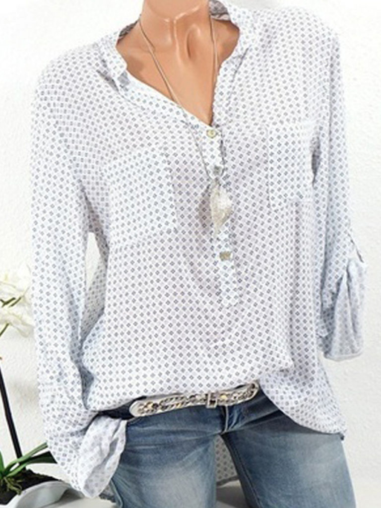 V Neck Loose Fitting Dot Blouses