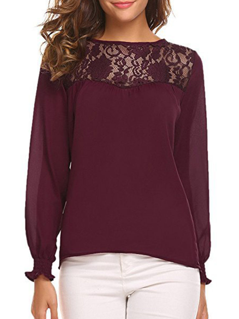 Round Neck Patchwork Lace Blouses