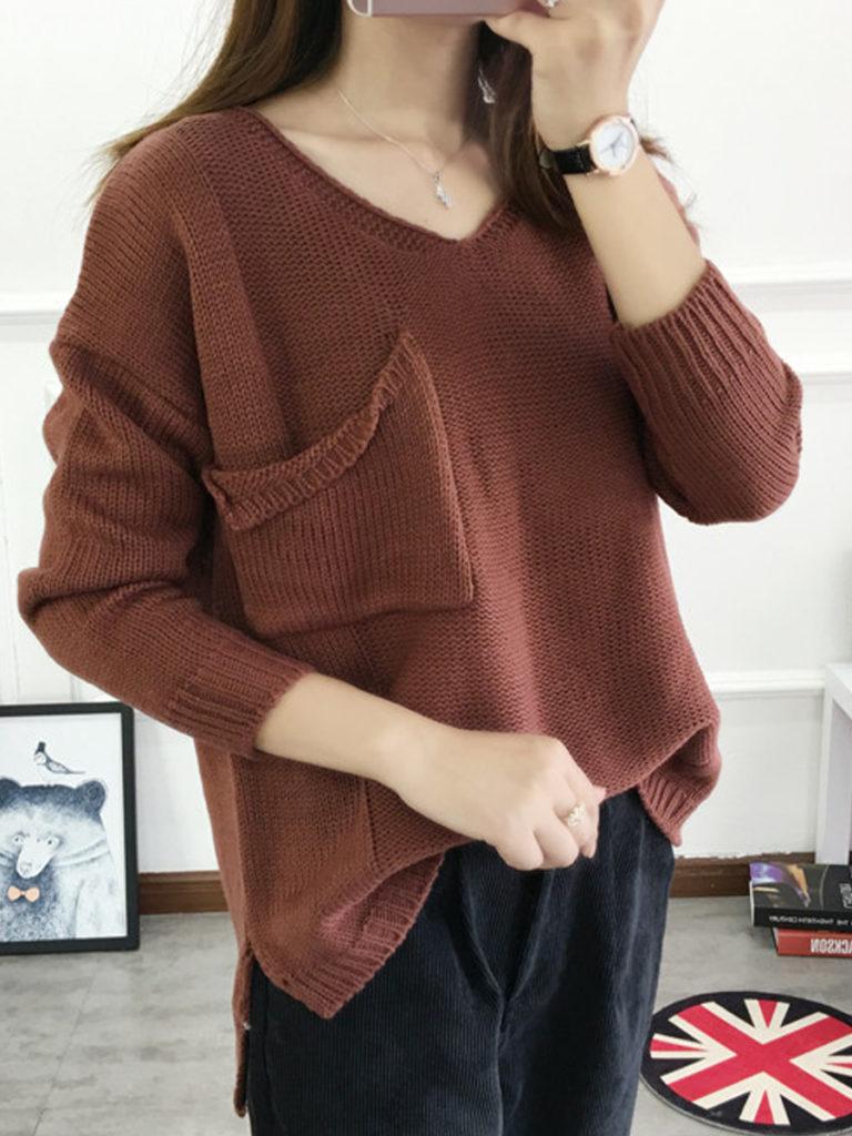 V-Neck Slit Pocket Plain Long Sleeve Sweaters Pullover