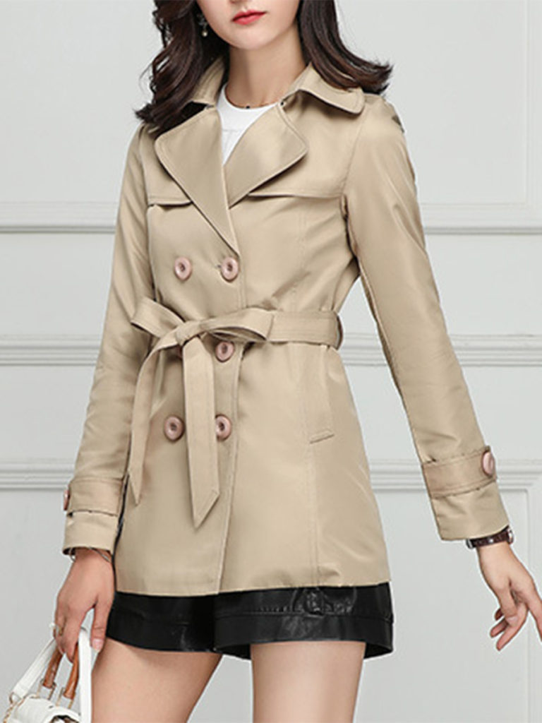 Notch Lapel Double Breasted Belt Plain Trench Coat