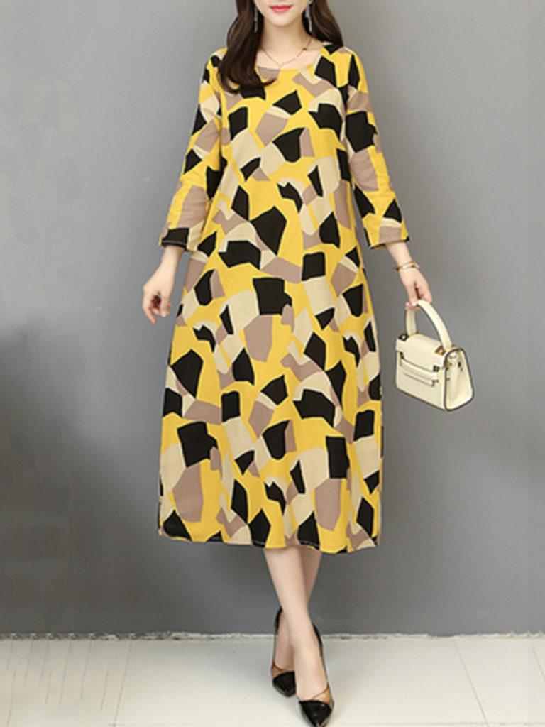 Oversized Round Neck Printed Maxi Dress