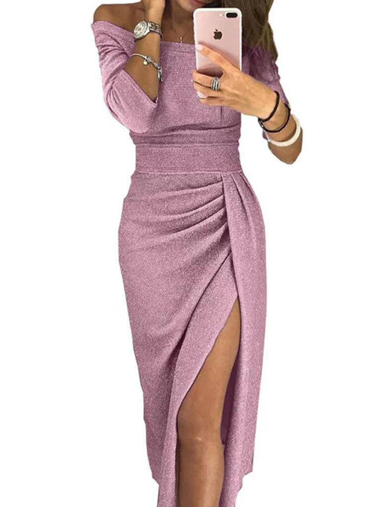 Open Shoulder Slit Plain Bodycon Dress
