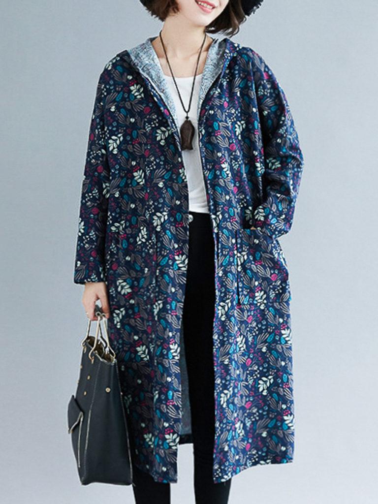 Hooded Floral Printed Trench Coat