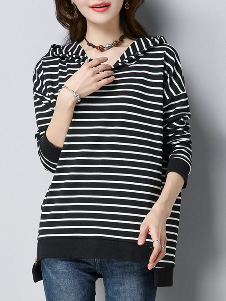 Hooded Zipper Striped Hoodie