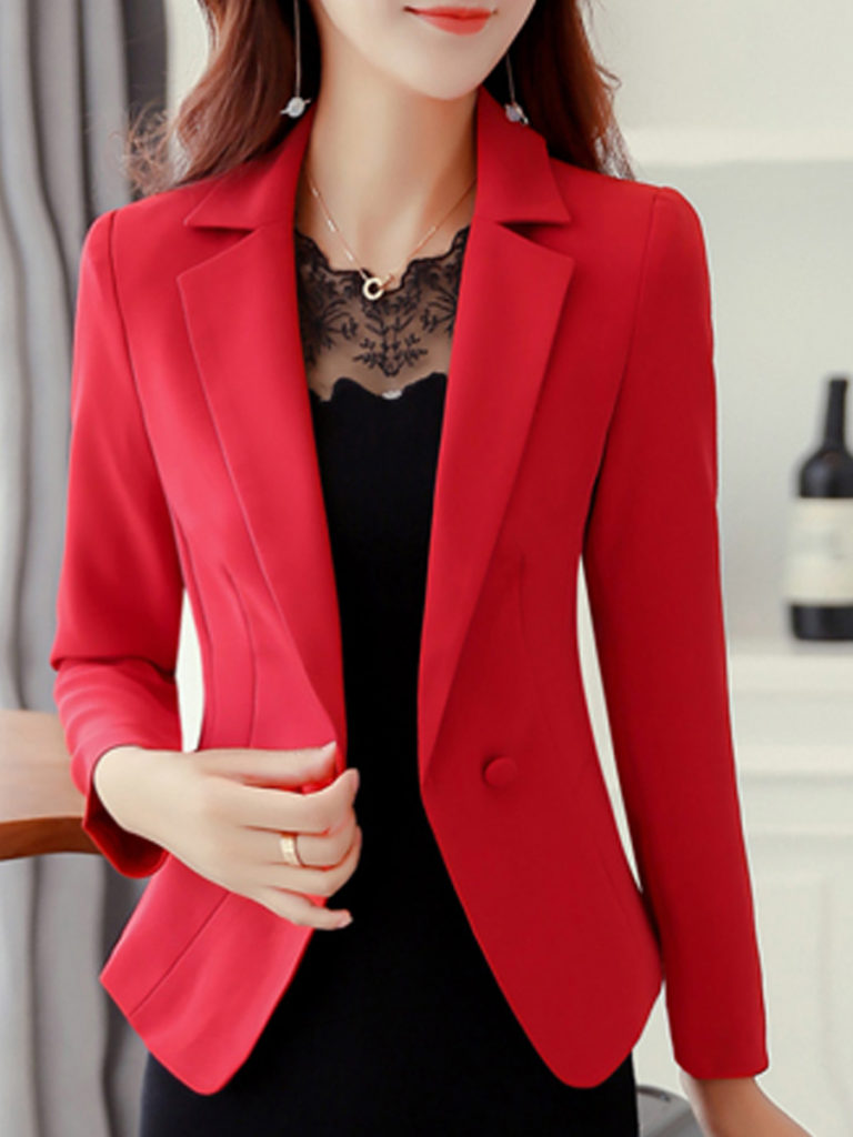 Double Breasted Decorative Button Plain Long Sleeve Blazers