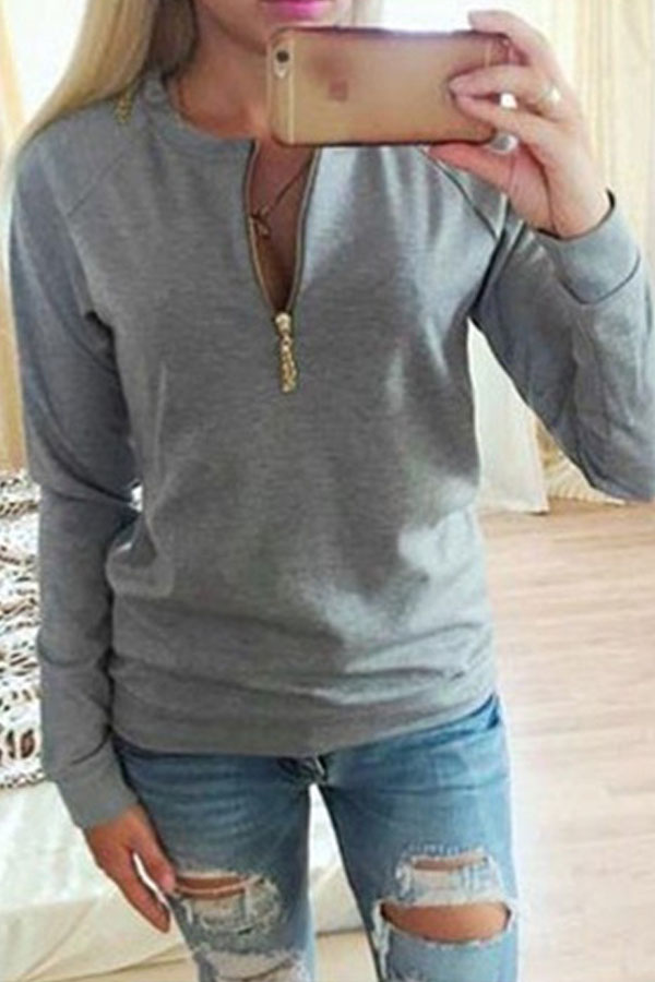 Round Neck Zipper Patchwork Sweatshirts