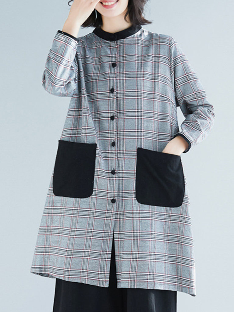 Band Collar Single Breasted Checkered Trench Coat