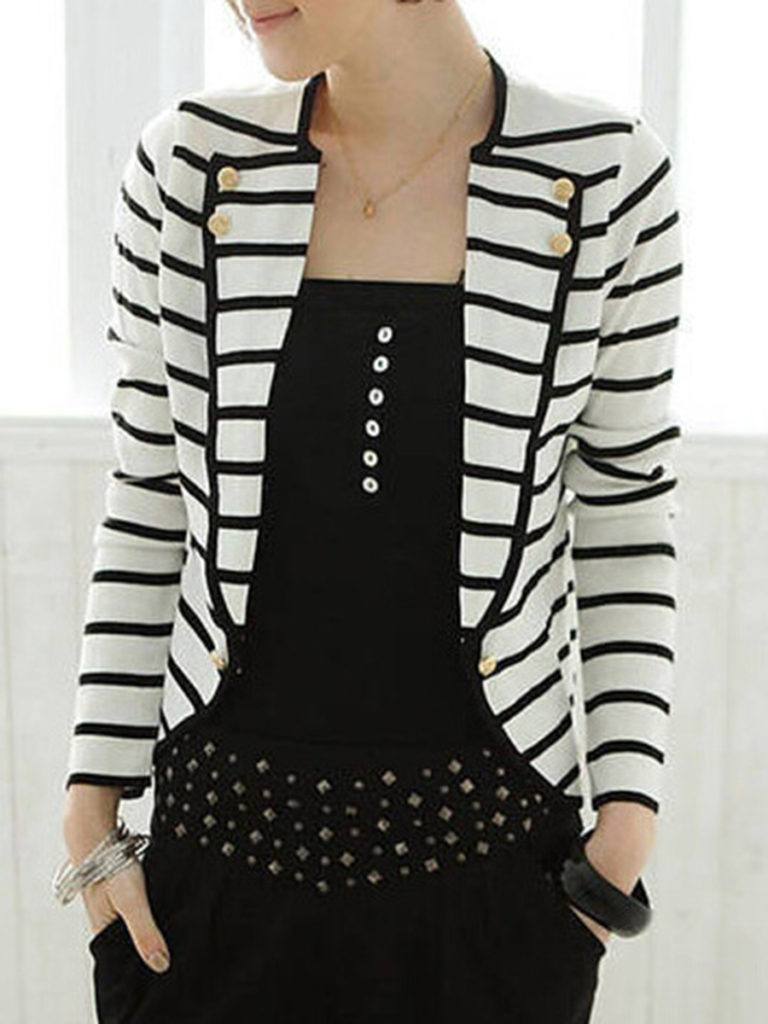 Notch Lapel Striped Blazer