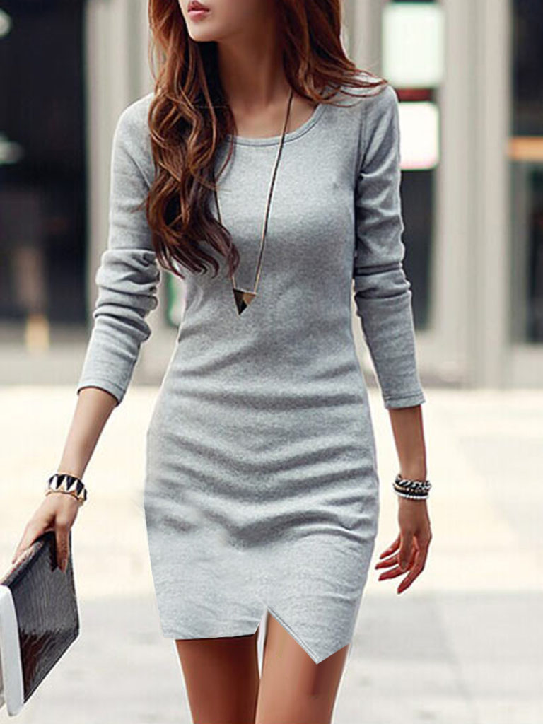 Round Neck Asymmetric Hem Plain Bodycon Dress