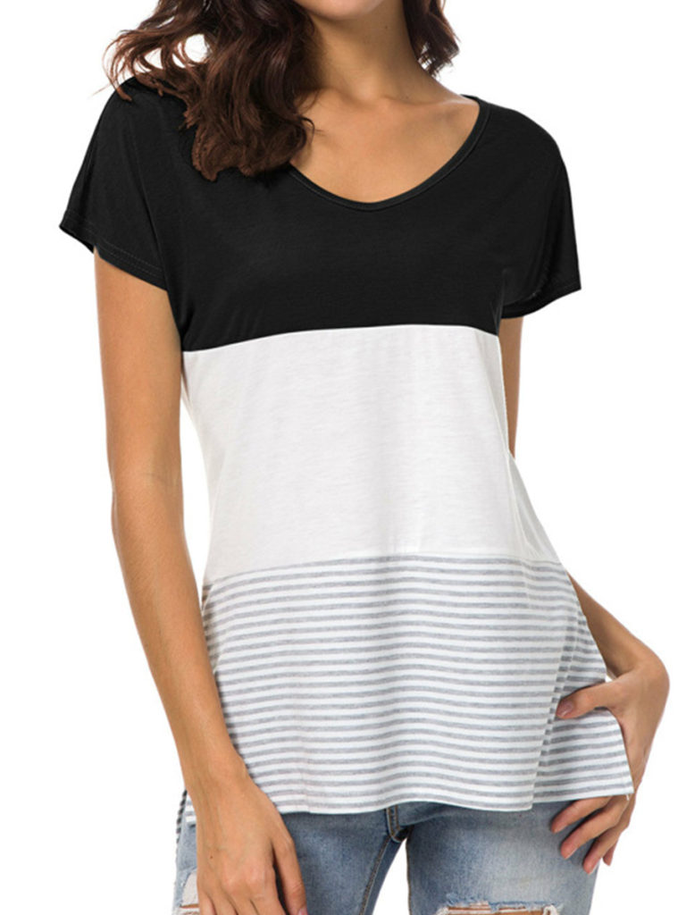 Round Neck Loose Fitting Patchwork Stripes Short Sleeve T-Shirts