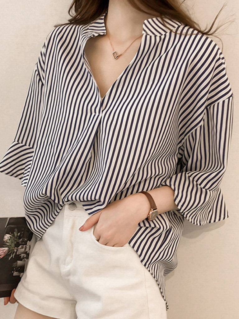 V Neck Stripes Bell Sleeve Blouses