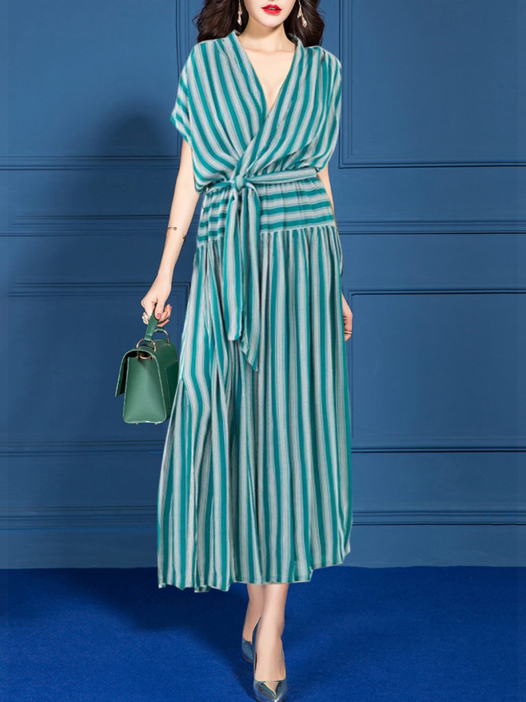 Spring Summer Fashion V-Neck Striped Maxi Dress