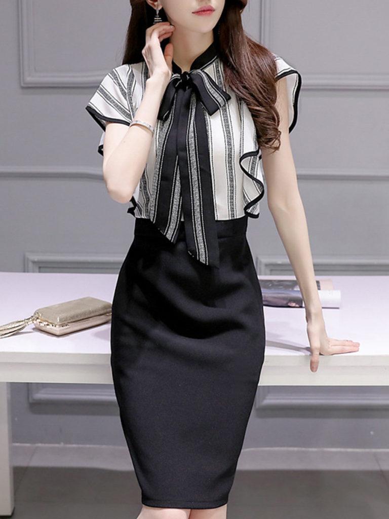 Tie Collar Patchwork Color Block Bodycon Dress
