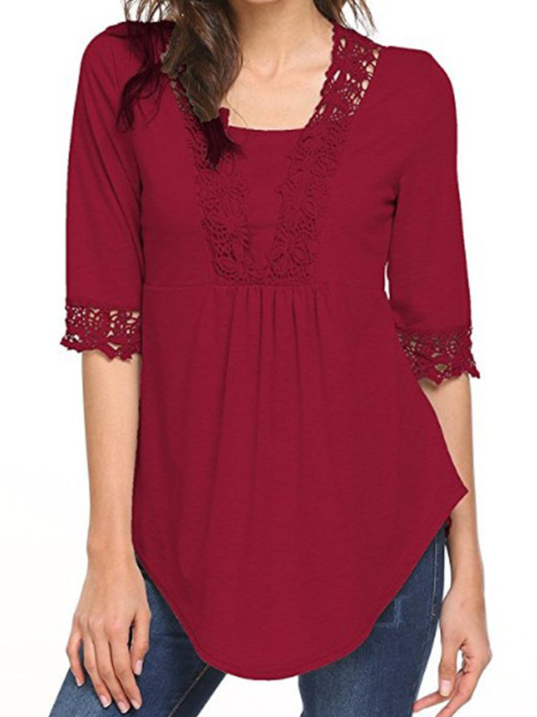 V Neck Patchwork Lace Short Sleeve T-Shirts