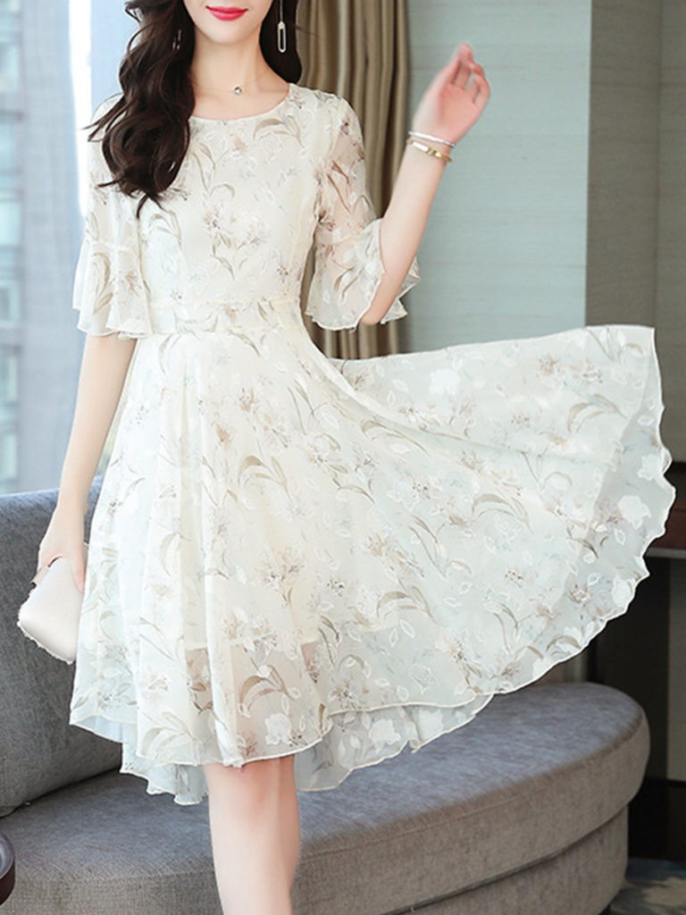 Round Neck Asymmetric Hem Print Bell Sleeve Skater Dress