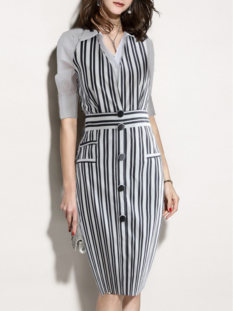 Fold Over Collar Striped Bodycon Dress
