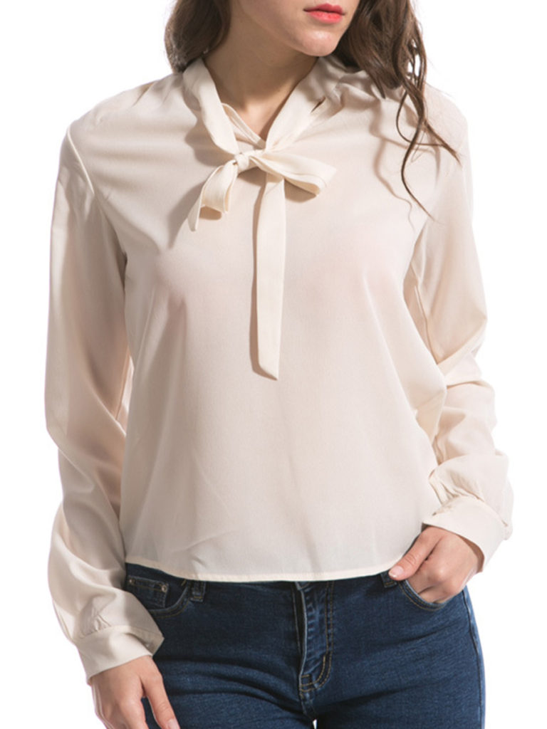 Tie Collar Loose Fitting Plain Blouses