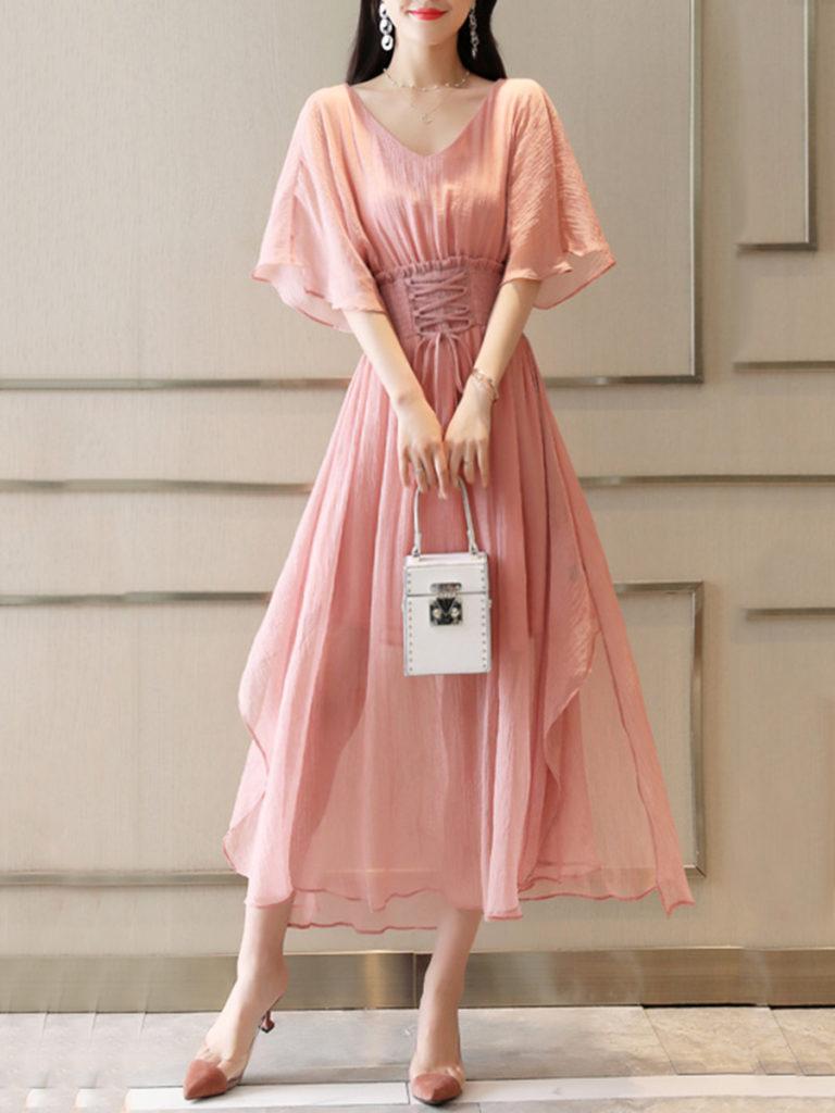 V-Neck Elastic Waist Lace-Up Plain Maxi Dress