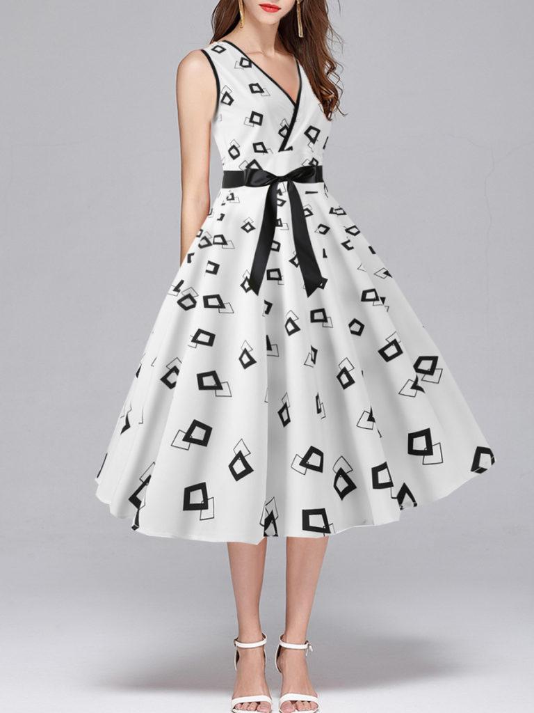V Neck Print Skater Dress