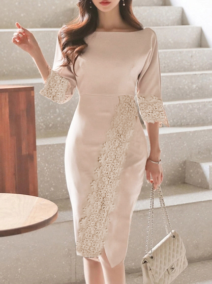 Word Collar Decorative Lace Plain Bodycon Dress