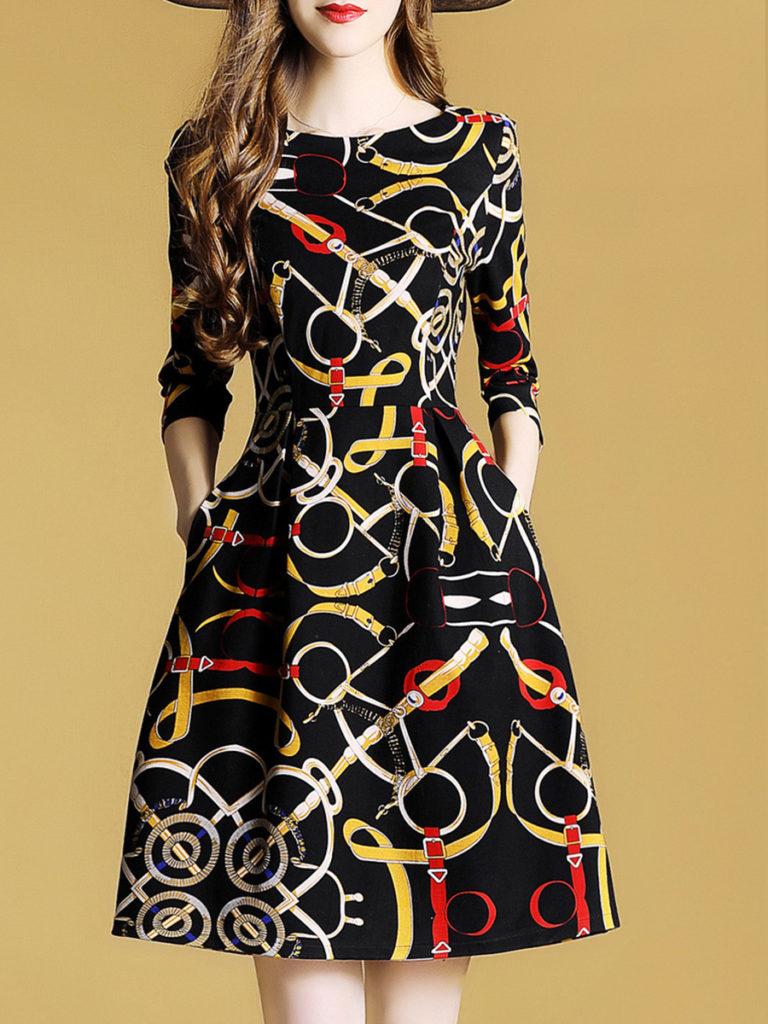 Round Neck Print Skater Dress