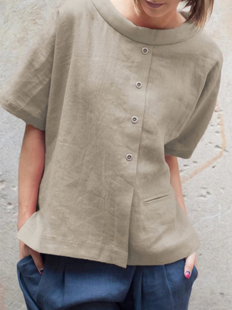 Round Neck Loose Fitting Patch Pocket Blouses
