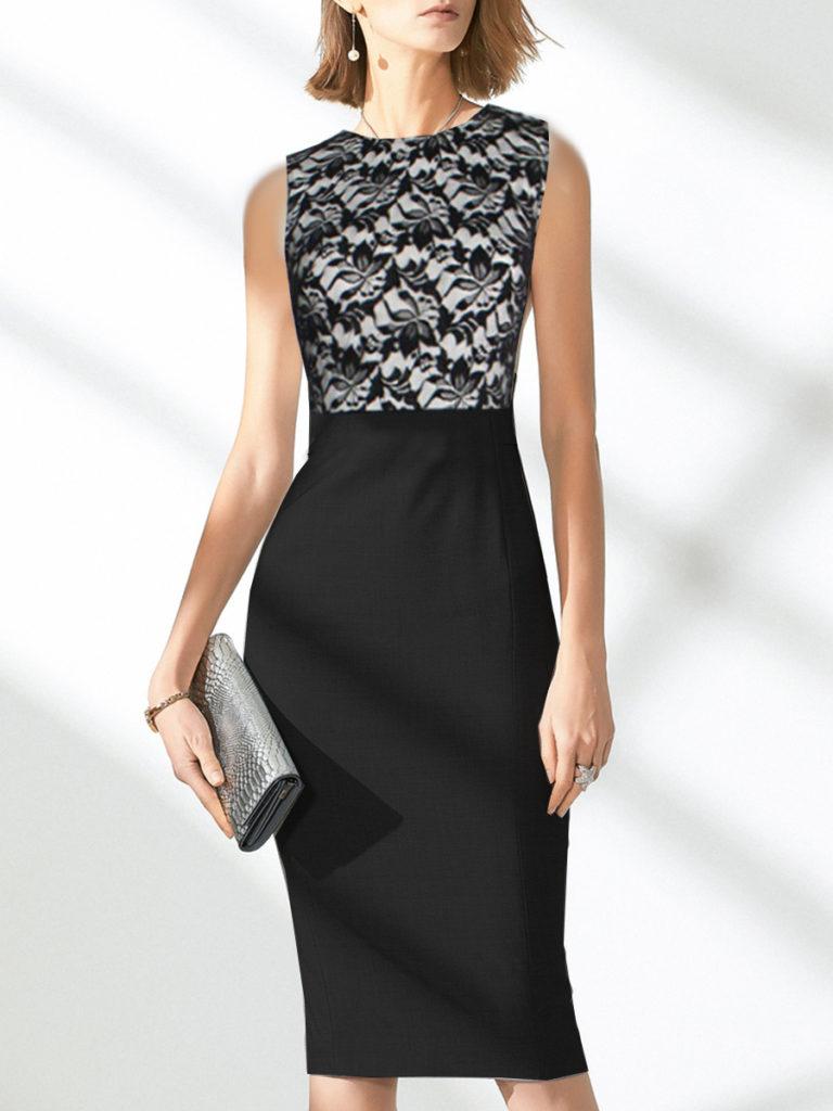 Round Neck Patchwork Lace Bodycon Dress