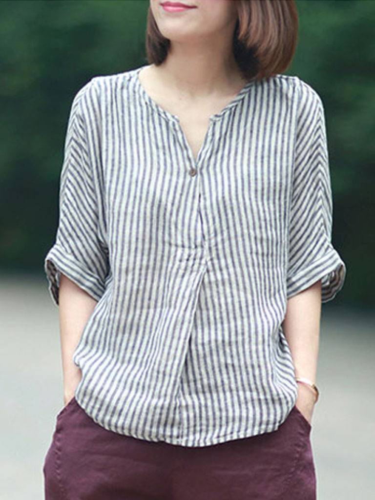 Loose Fitting Striped Blouses