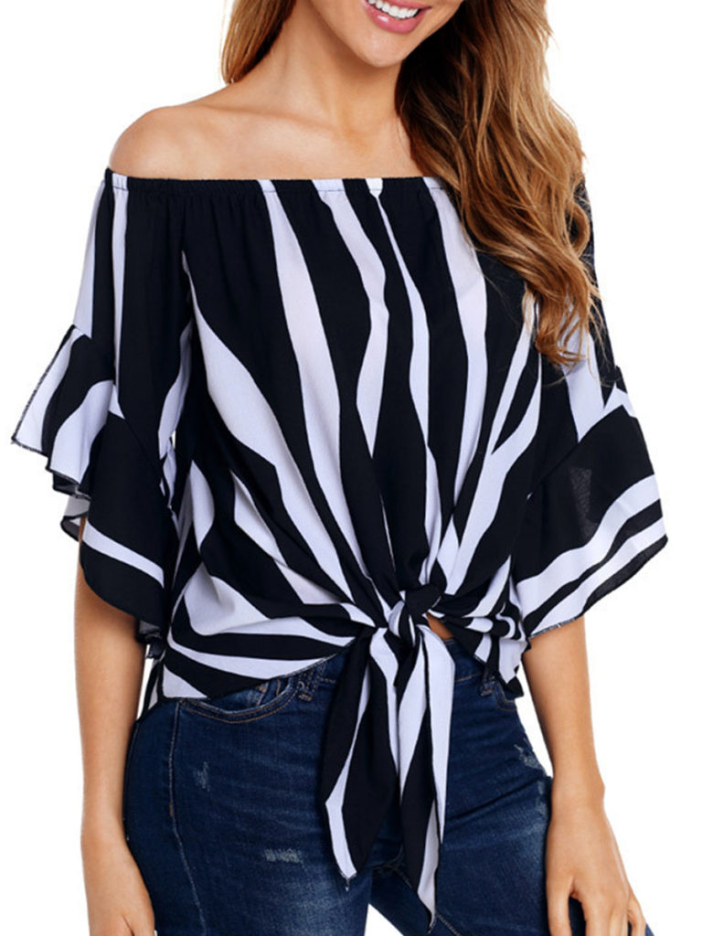 Open Shoulder Lace Up Striped Blouses