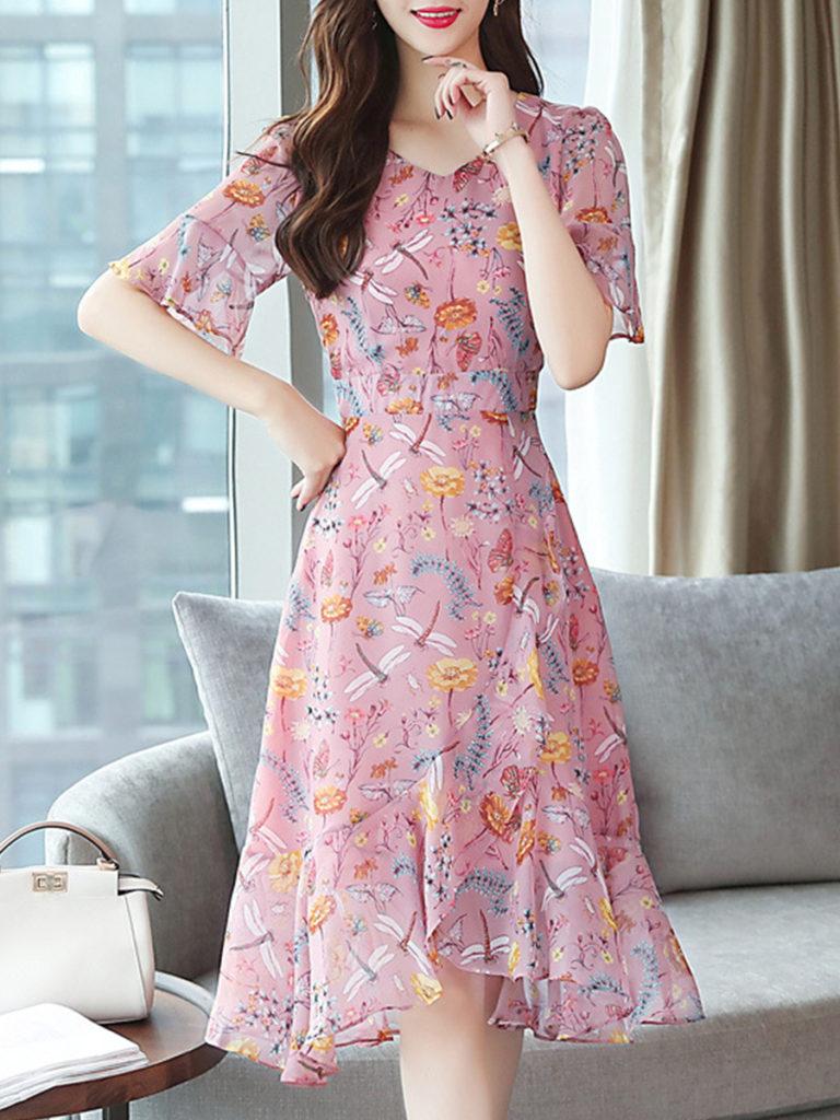 Sweet Heart Asymmetric Hem Floral Printed Bell Sleeve Skater Dress