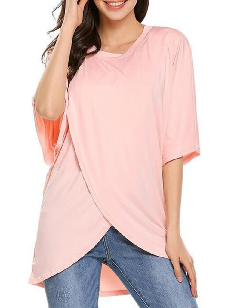 Round Neck Loose Fitting Plain Short Sleeve T-Shirts