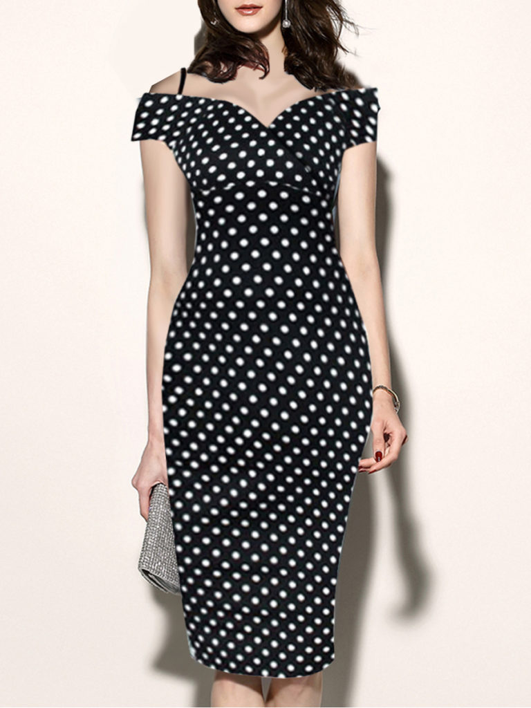 Spaghetti Strap Polka Dot Bodycon Dress