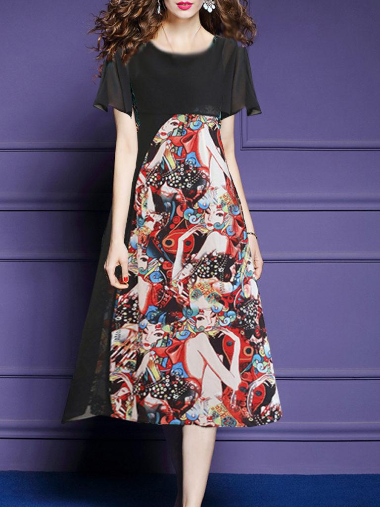 Round Neck Side Slit Print Maxi Dress