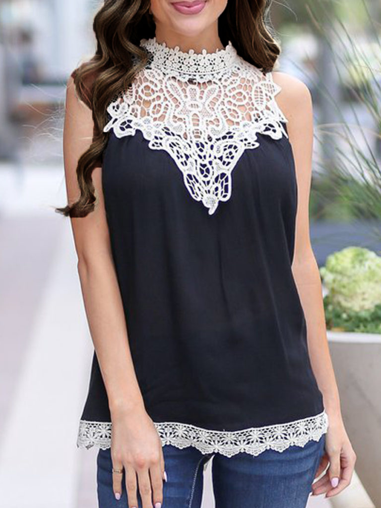Crew Neck Patchwork Lace Sleeveless T-Shirts