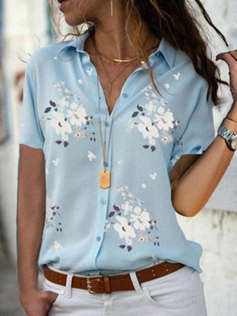 Turn Down Collar Loose Fitting Floral Printed Blouses