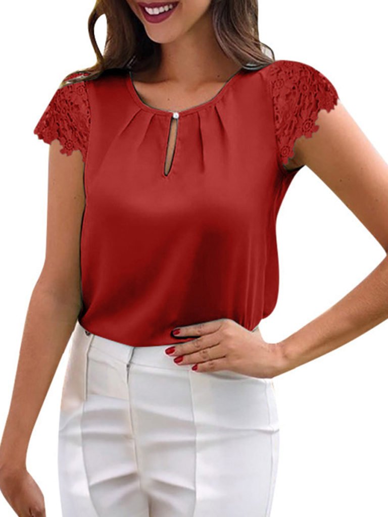 Round Neck Cutout Patchwork Lace Blouses