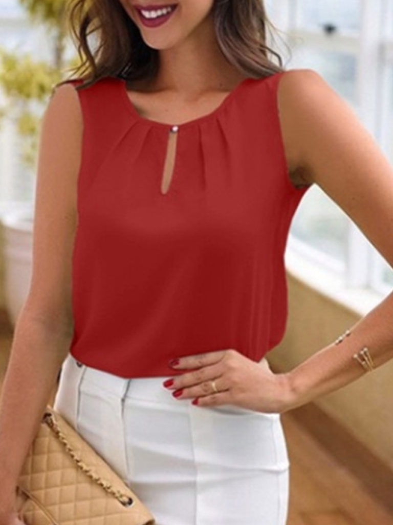 Round Neck Cutout Plain Blouses