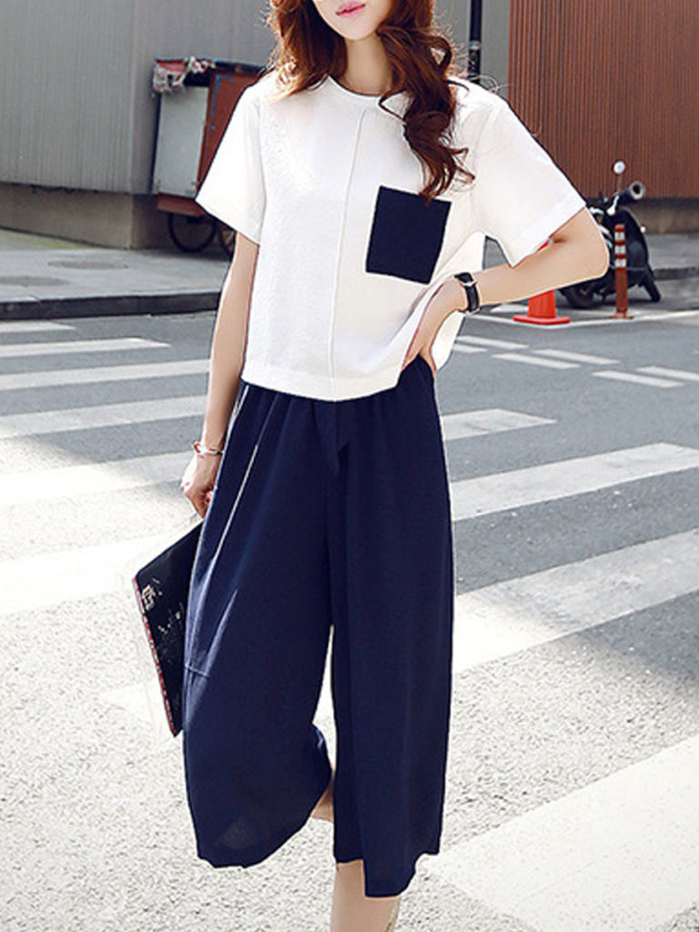 Round Neck Patch Pocket Short Sleeve T-Shirt And Bottom Suits