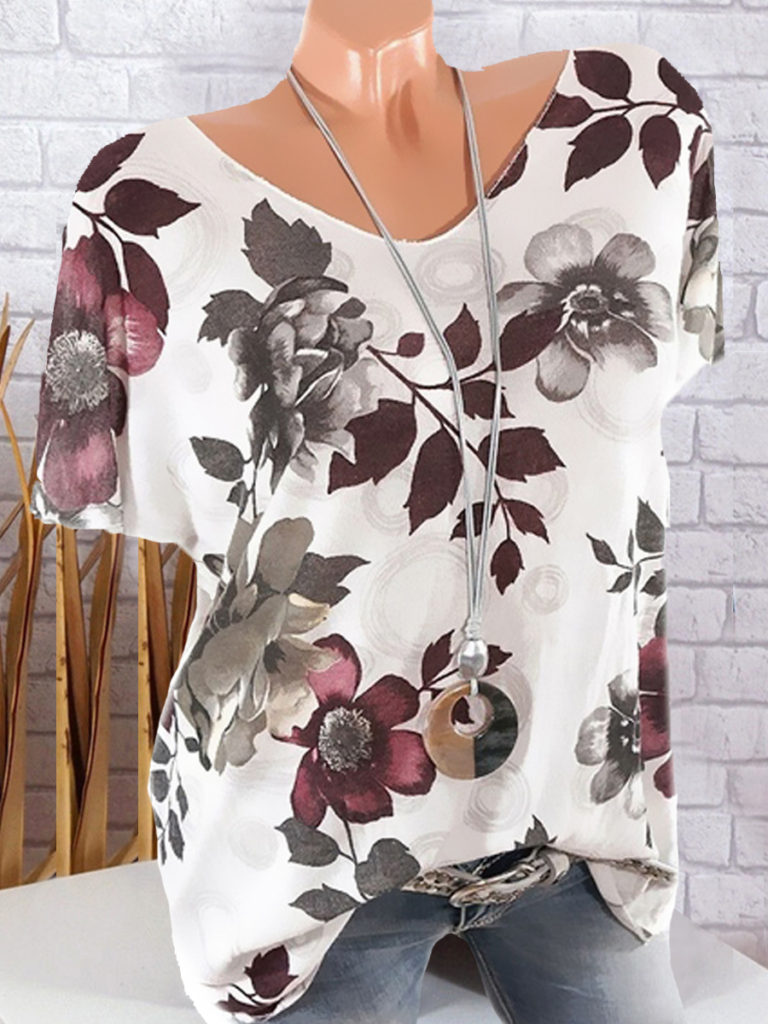 Round Neck Floral Printed Short Sleeve T-Shirts