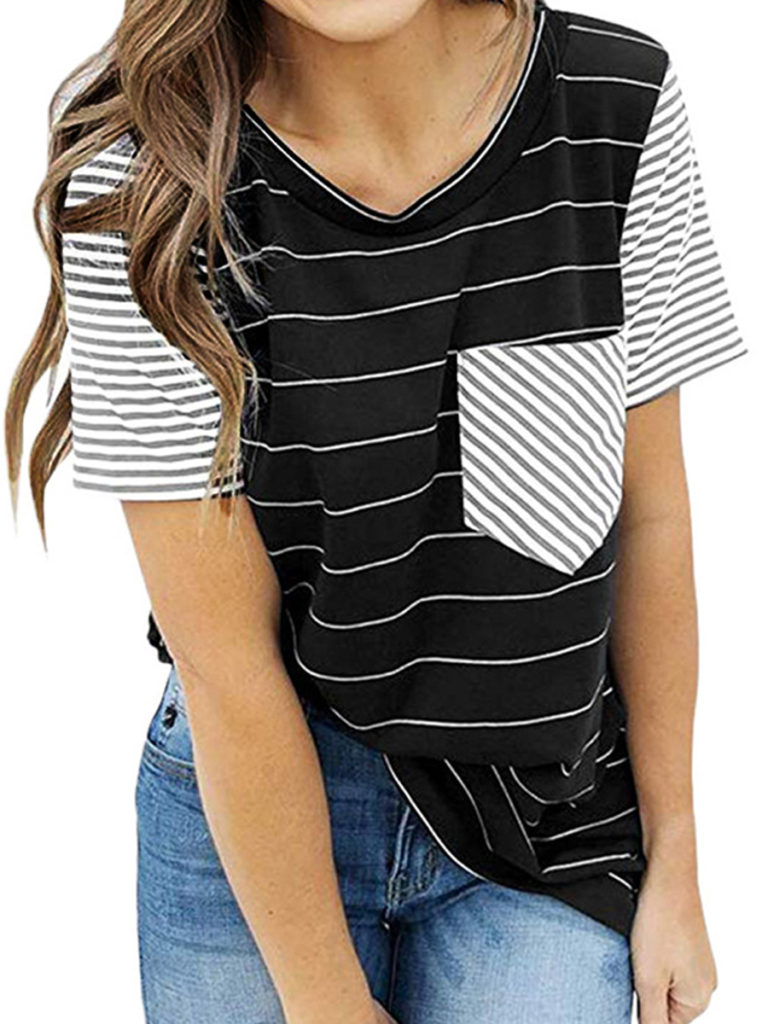 Round Neck Patchwork Striped Short Sleeve T-Shirts