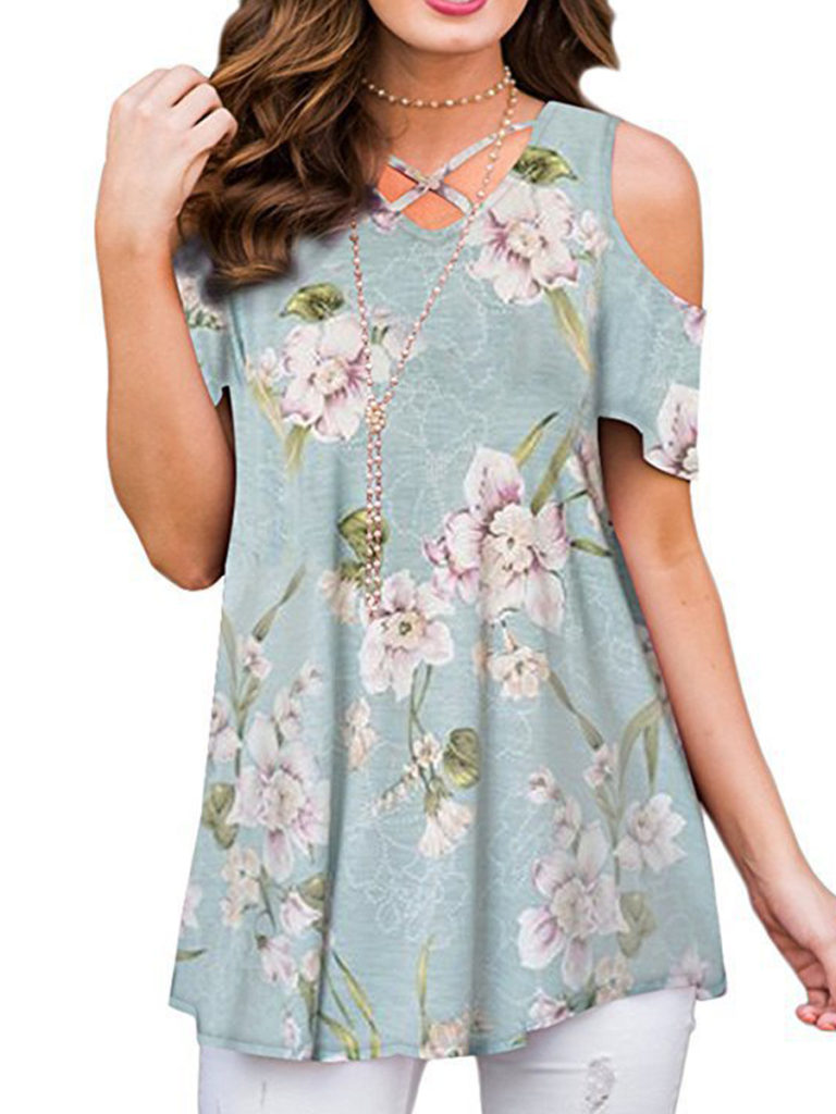 V Neck Cutout Floral Printed Short Sleeve T-Shirts