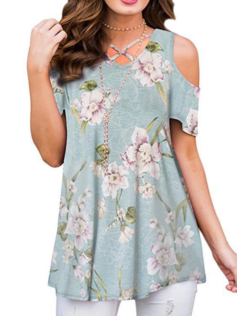 V Neck Cutout Floral Printed Short Sleeve T-Shirts