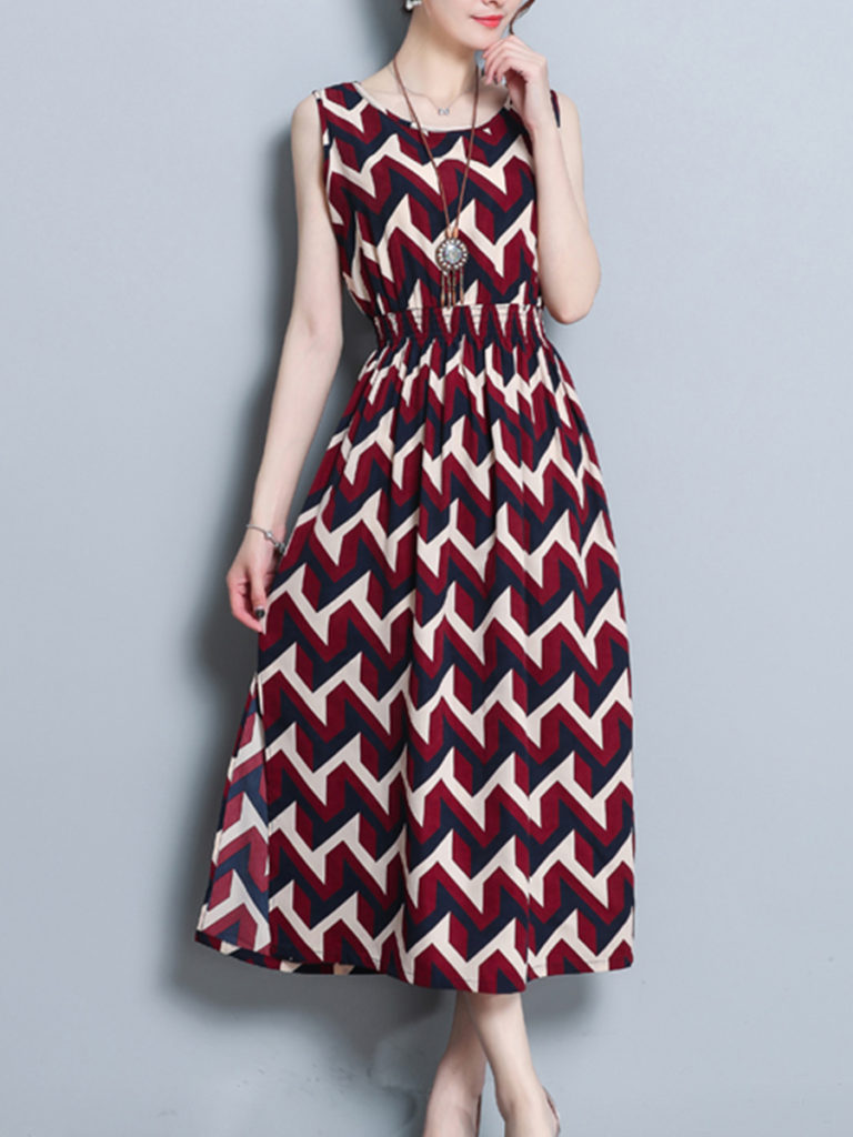 Round Neck Elastic Waist Print Maxi Dress